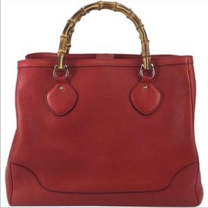 Red Gucci Diana Bag with bamboo handles Vintage
